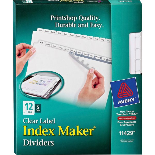 Avery Print & Apply Clear Label Dividers, 12-Tab, White Tab, Letter, 5 Sets