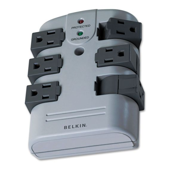 Belkin Pivot Plug Surge Protector, 6 Outlets, 1080 Joules, Gray