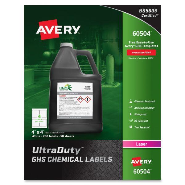 "Avery UltraDuty GHS Chemical Labels for Laser Printers, Waterproof, UV Resistant, 4"" x 4"", 200 Pack (60504)"
