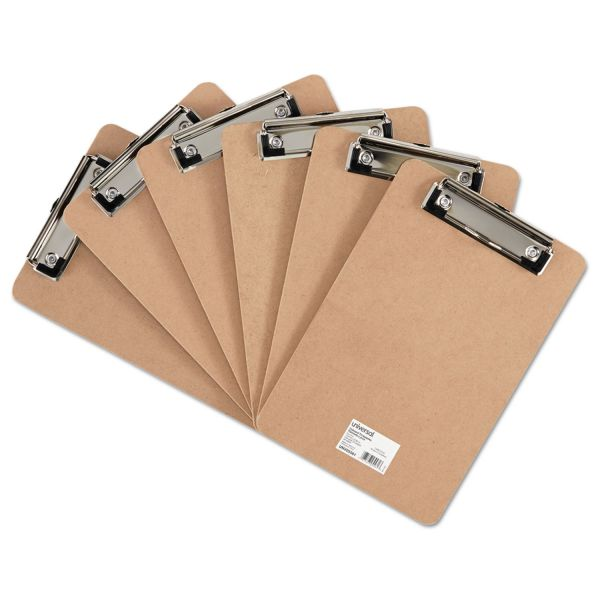 "Universal Hardboard Clipboard with Low-Profile Clip, 1/2"" Capacity, 5 x 8, Brown, 6/Pk"