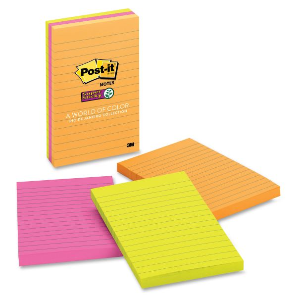 Post-it Notes Super Sticky Pads in Rio de Janeiro Colors, Lined, 4 x 6, 90-Sheet, 3/Pack