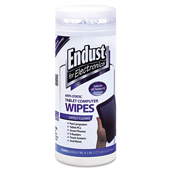 Endust for Electronics Tablet and Laptop Cleaning Wipes, Unscented, 70/Tub