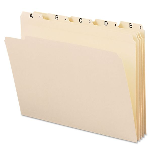 Smead Indexed File Folders, 1/5 Cut, Indexed A-Z, Top Tab, Letter, Manila, 25/Set
