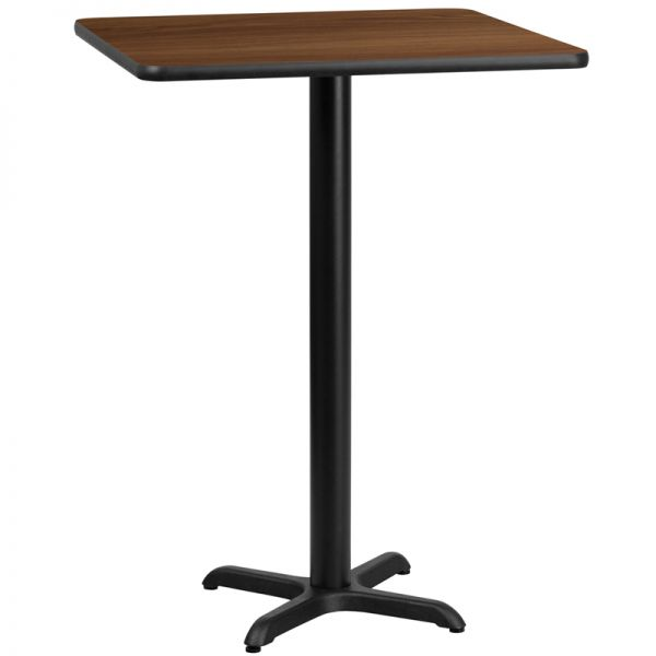 Flash Furniture 24'' Square Walnut Laminate Table Top with 22'' x 22'' Bar Height Table Base