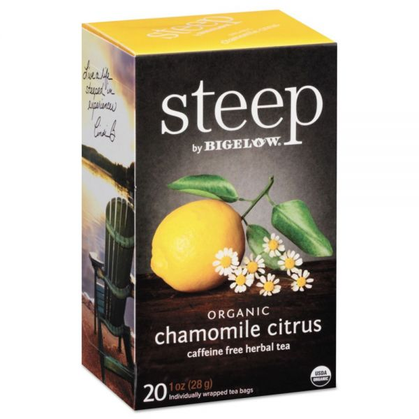 Bigelow steep Tea, Chamomile Citrus Herbal, 1 oz Tea Bag, 20/Box