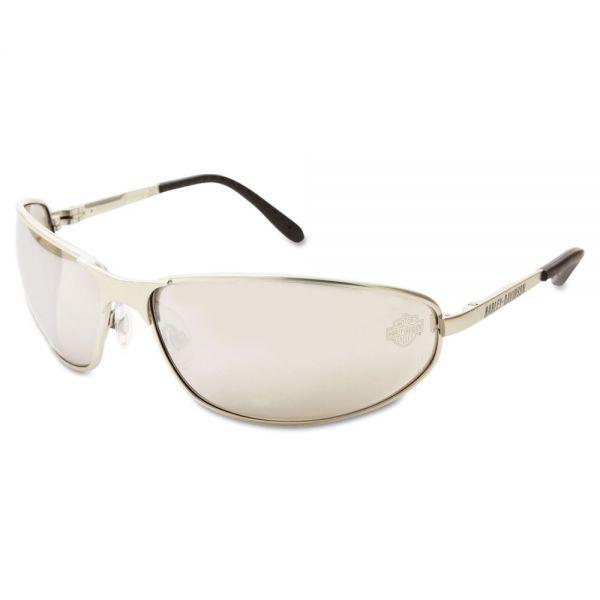 Harley-Davidson 500 Series Safety Eyewear, Silver Frame, Silver Mirror Lens