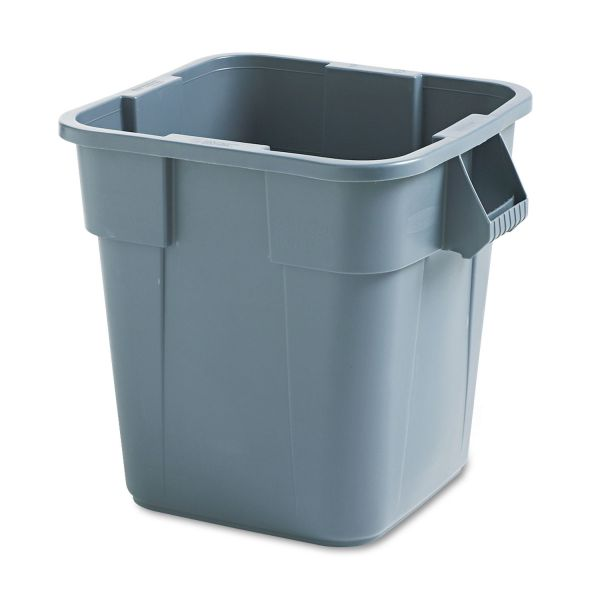 Rubbermaid Commercial Brute Container, Square, Polyethylene, 28gal, Gray