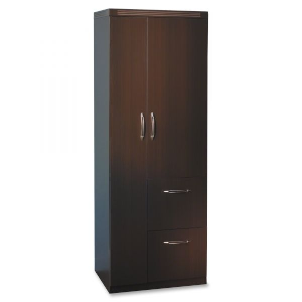 Tiffany Industries Aberdeen Personal Storage Tower, 2 Shelves, 24 X 24 X 68-3/4, Chocolate, Box 2 of 2