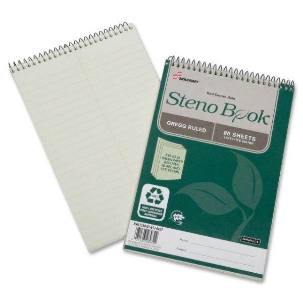 SKILCRAFT Gregg Ruled Recycled Steno Notebook