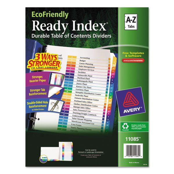 Avery EcoFriendly Ready Index Table of Contents Lettered Dividers