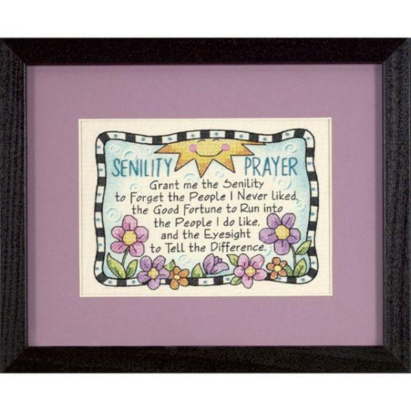Senility Prayer Mini Stamped Cross Stitch Kit
