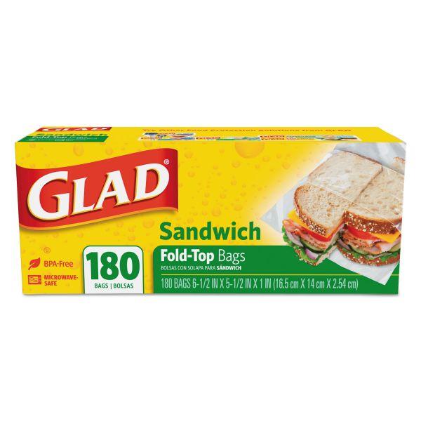 Glad Fold-Top Sandwich Bags, 6 1/2 x 5 1/2, Clear, 180/Box