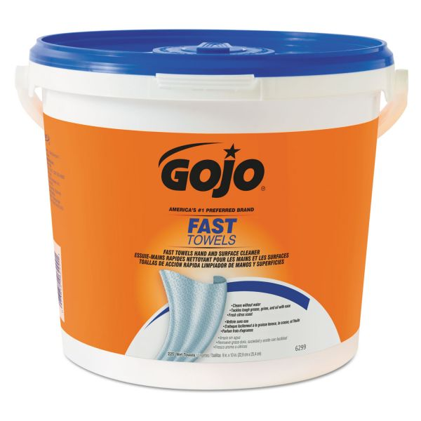 GOJO FAST TOWELS Hand Cleaning Towels, 9 x 10, Blue, 225/Bucket, 2 Buckets/Carton