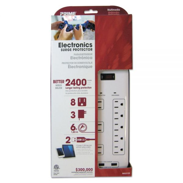 PRIME Electronics Surge Protectors, 8 Outlets, 2400 Joules, White