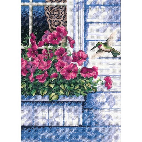 Gold Petite Flowers & Hummingbird Counted Cross Stitch Kit