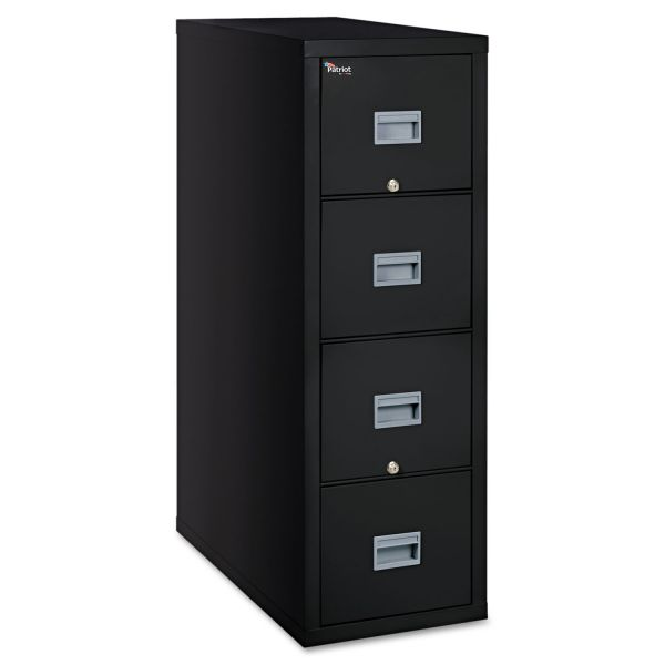 FireKing Patriot Insulated Four-Drawer Fire File, 17 3/4w x 31 5/8d x 52 3/4h, Black