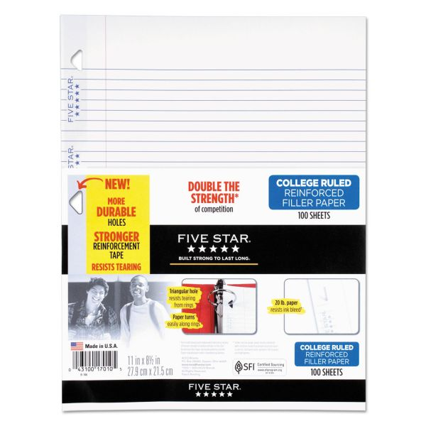 Five Star Reinforced Filler Paper, 20lb, College Rule, 11 x 8 1/2, White, 100 Sheets