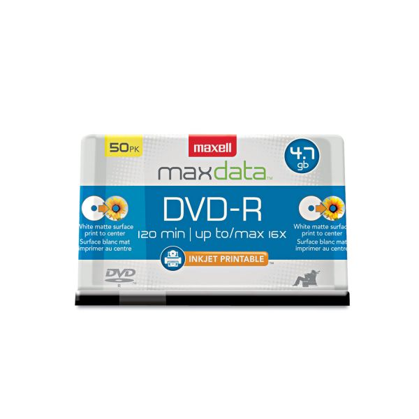 Maxell DVD-R Recordable Discs, Printable, 4.7GB, 16x, Spindle, White, 50/Pack
