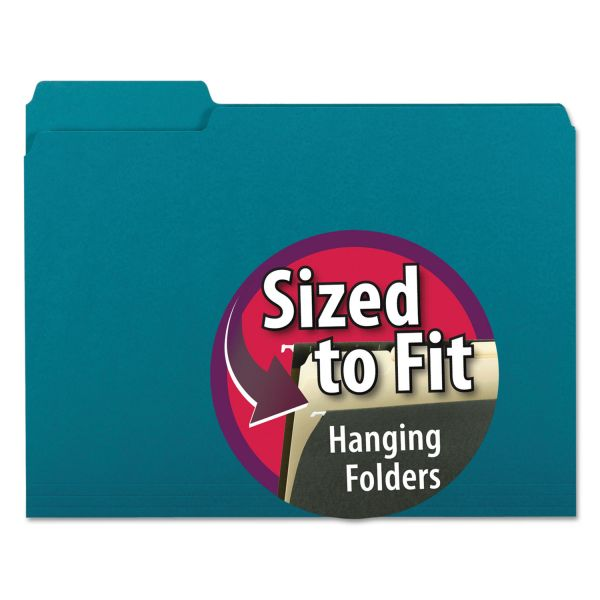 Smead Interior File Folders, 1/3 Cut Top Tab, Letter, Teal 100/Box