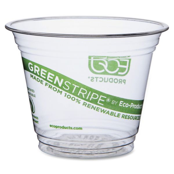 Eco-Products Green Stripe 9 oz Plastic Cups