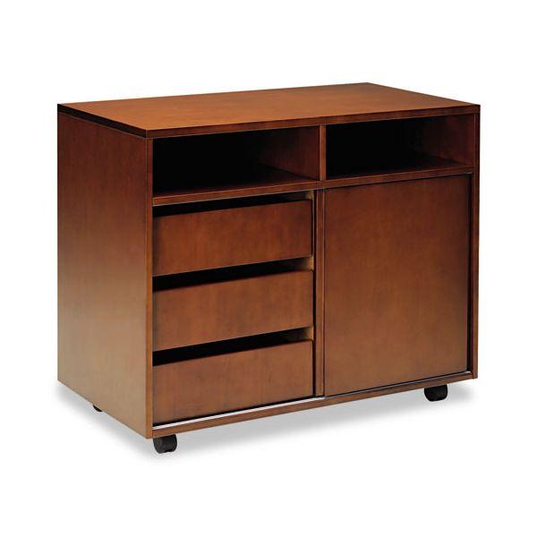 Mayline Stella Series Veneer Mobile Storage Cabinet, 34¾w x 19d x 28¼h, Toffee