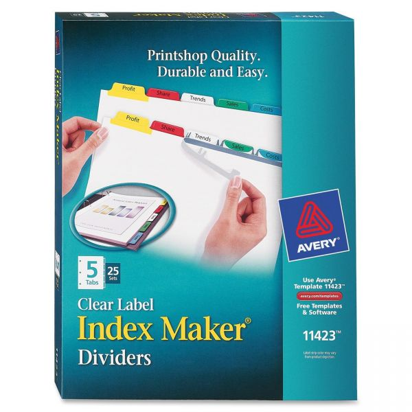 Avery Clear Label 5-Tab Index Maker Dividers