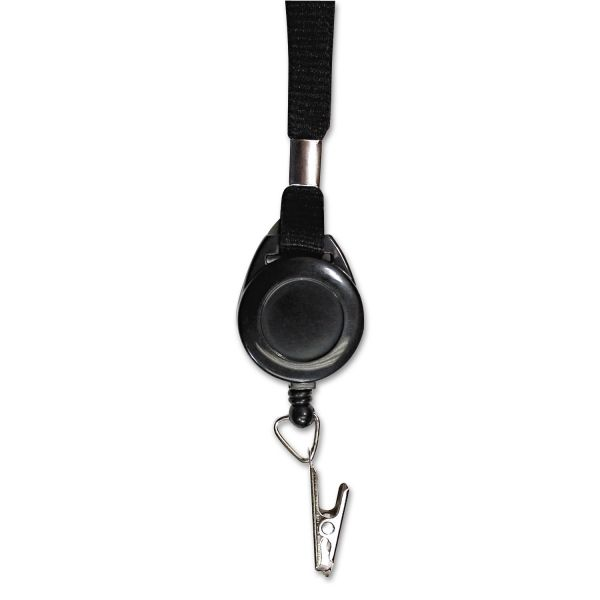 "Advantus Lanyards with Retractable ID Reels, Clip Style, 34"" Long, Black, 12/Carton"