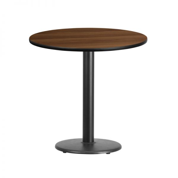 Flash Furniture 30'' Round Walnut Laminate Table Top with 18'' Round Table Height Base