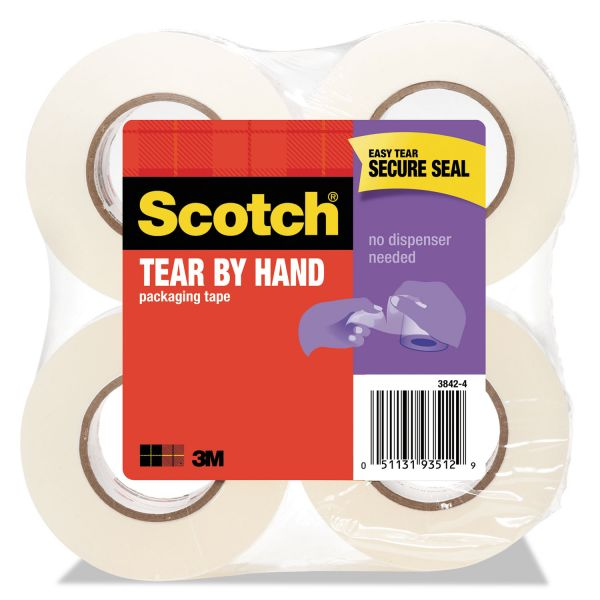 """Scotch Tear-By-Hand Packaging Tape, 1.88"""" x 50yds, 1 1/2"""" Core, Clear, 4/Pack"""