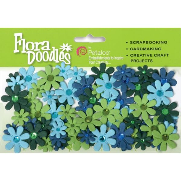 "Flora Doodles Jeweled Paper Florettes .625"" To 1"" 80/Pkg"