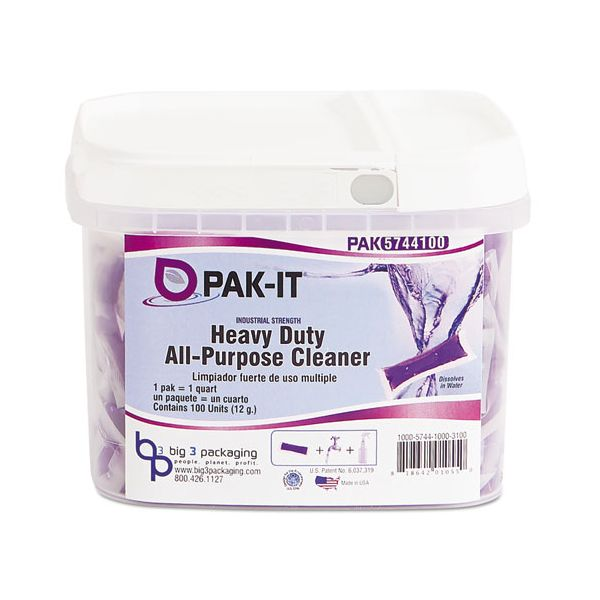 PAK-IT Heavy-Duty All-Purpose Cleaner, Pleasant Scent, 100 PAK-ITs/Tub, 4 Tubs/CT