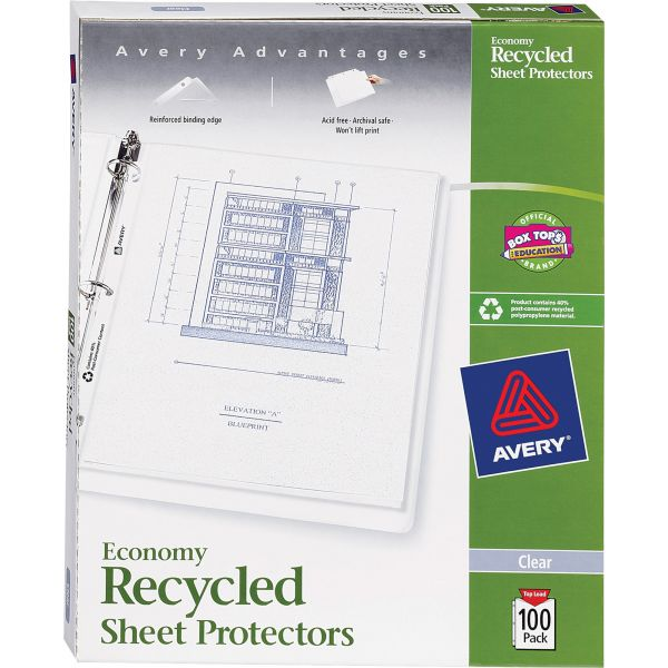 Avery Top-Load Recycled Polypropylene Sheet Protector, Letter, Economy Weight, Semi-Clear, 100/Box