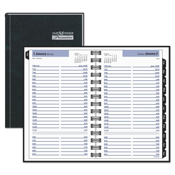 AT-A-GLANCE DayMinder Hardcover Daily Appointment Book, 4 7/8 x 7 7/8, Black, 2019