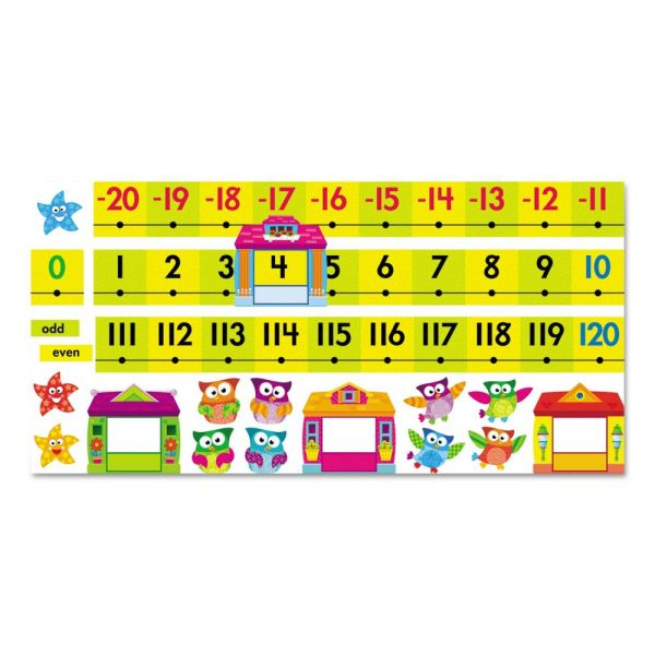 TREND Owl-Stars! Number Line Bulletin Board Set, 40 ft, 49 Pieces