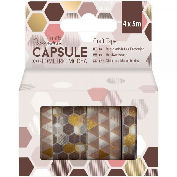 Papermania Geometric Mocha Craft Tape 4/Pkg