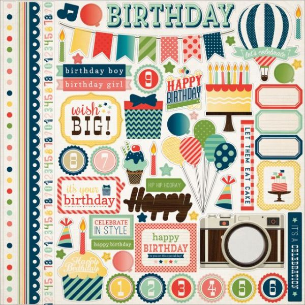 "It's A Celebration Cardstock Stickers 12""X12"""