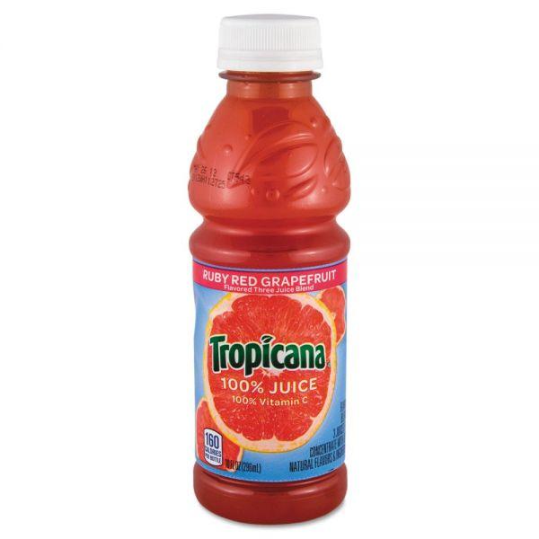 Tropicana 100% Juice, Ruby Red Grapefruit, 10oz Bottle, 24/Carton