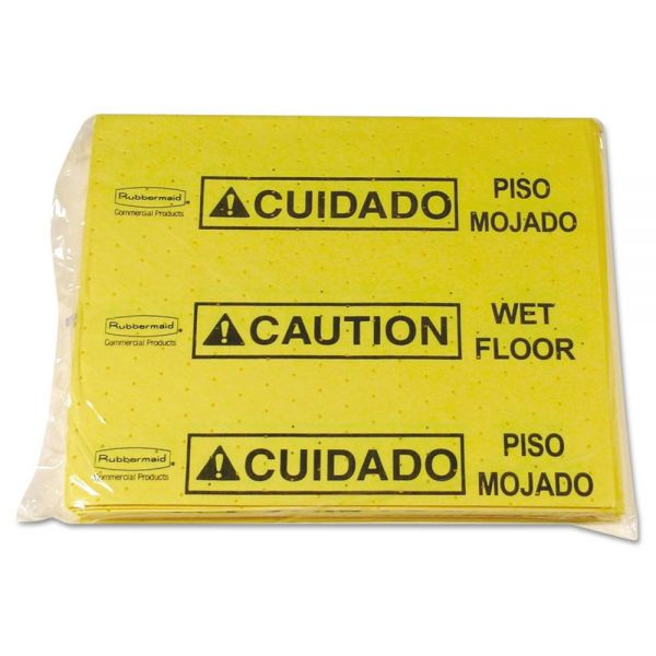 Rubbermaid Commercial Over-The-Spill Pad Tablet w/25 Pads, Yellow/Black,14 x 16 1/2