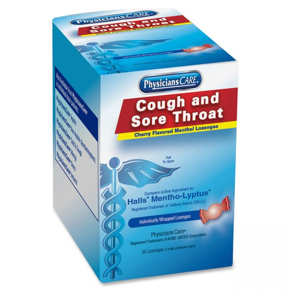 PhysiciansCare Cough & Sore Throat Menthol Lozenges