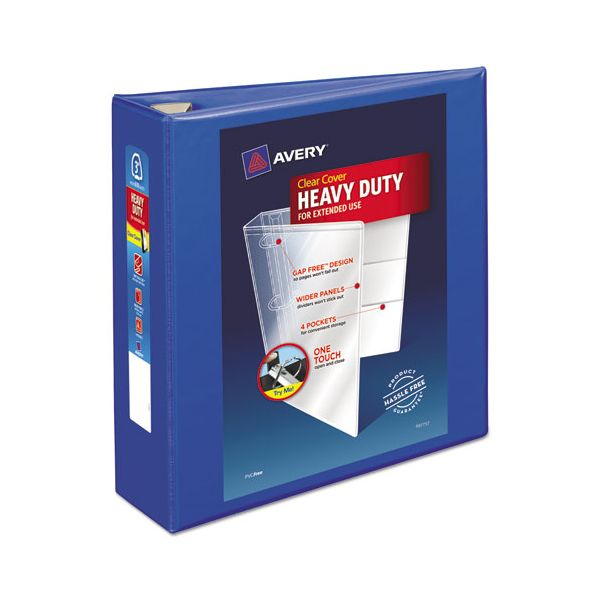 """Avery Heavy-Duty 3-Ring View Binder w/Locking EZD Rings, 3"""" Capacity, Pacific Blue"""