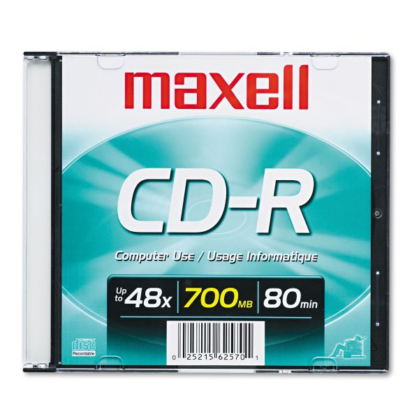 Maxell Recordable CD Media With Slim Jewel Case