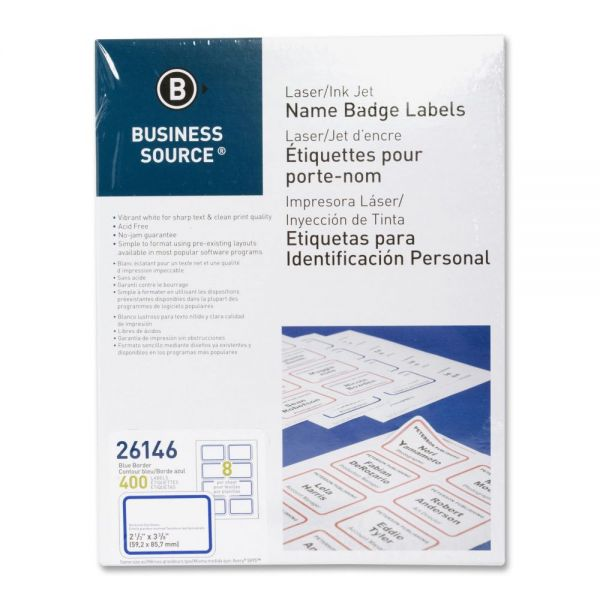 Business Source Self-Adhesive Name Tags