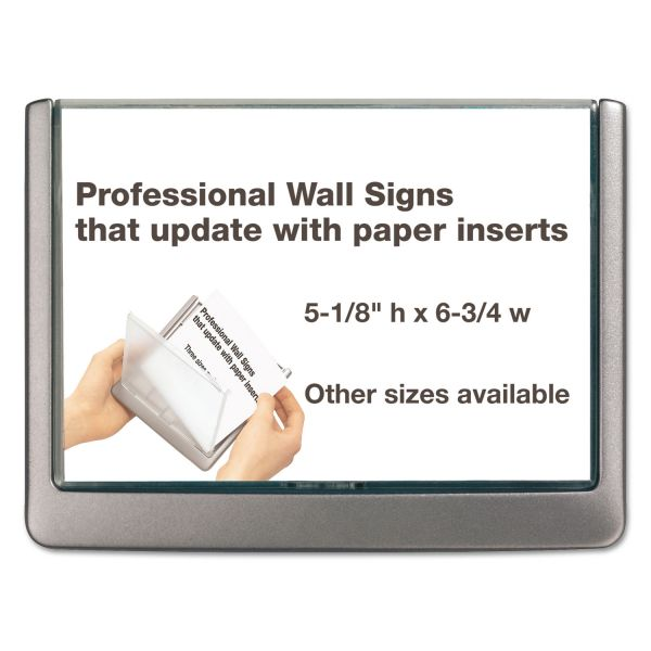 Durable Click Sign Holder For Interior Walls, 6 3/4 x 5/8 x 5 1/8, Gray