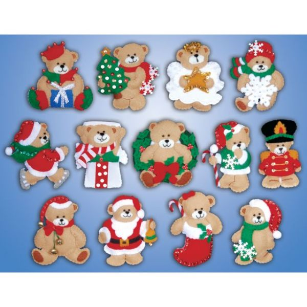 Lots Of Bears Ornaments Felt Applique Kit
