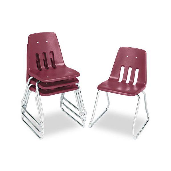 "Virco 9600 Classic Series Classroom Chairs, 16"" Seat Height, Wine/Chrome, 4/Carton"