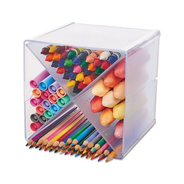 """deflecto Desk Cube with """"X"""" Dividers, Clear Plastic, 6 x 7-1/5 x 6"""