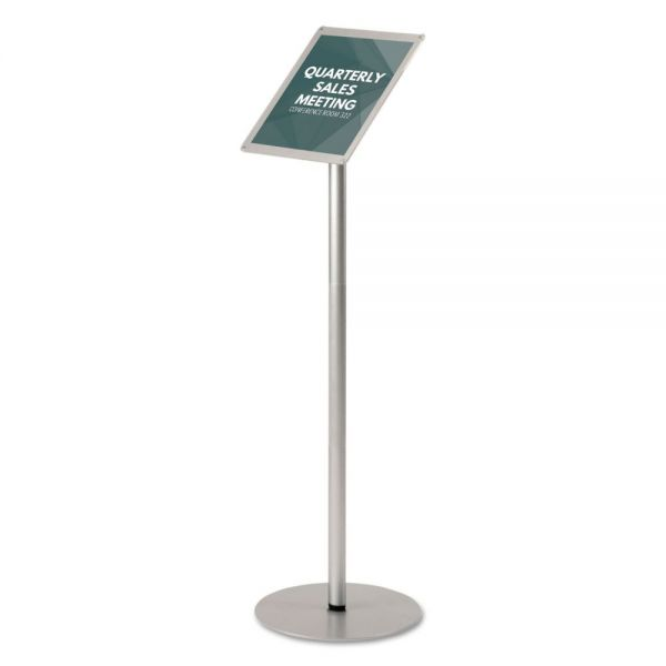 "deflecto Floor Sign Display with Rear Literature Pocket,8 1/2x11 Insert, 45"" High, Silver"