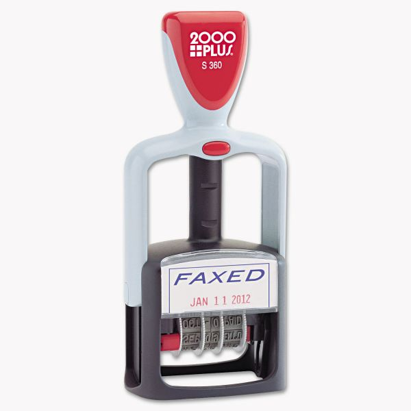 "2000 Plus self-inking two-color word dater, ""faxed,"" type size 1-1/2"