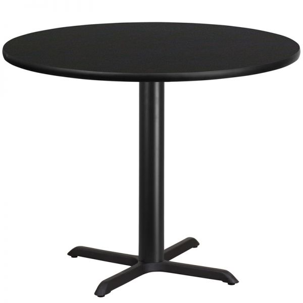 Flash Furniture 42'' Round Black Laminate Table Top with 33'' x 33'' Table Height Base