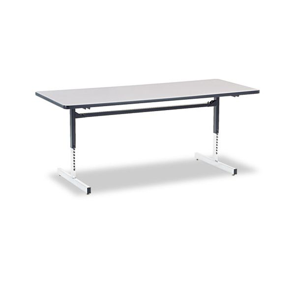 8700 Series Rectangular Training Table, 30 x 72 x 22 to 30h, Gray Nebula Finish